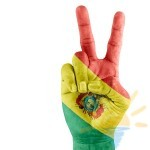 Bolivia (state) Flag On Victory Hand